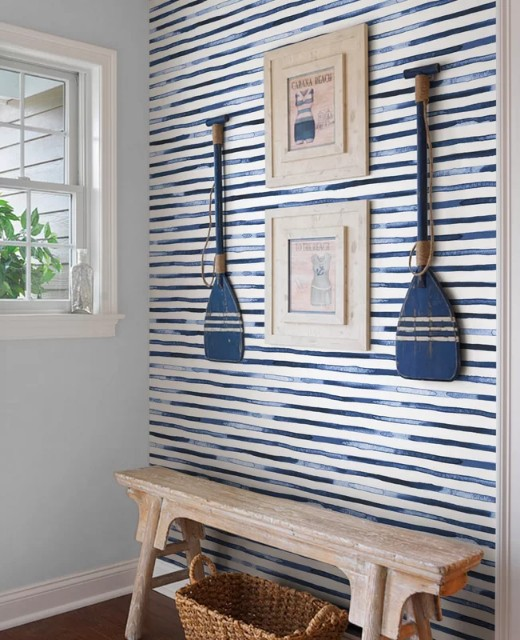 Blue and White Stripes Wallpaper