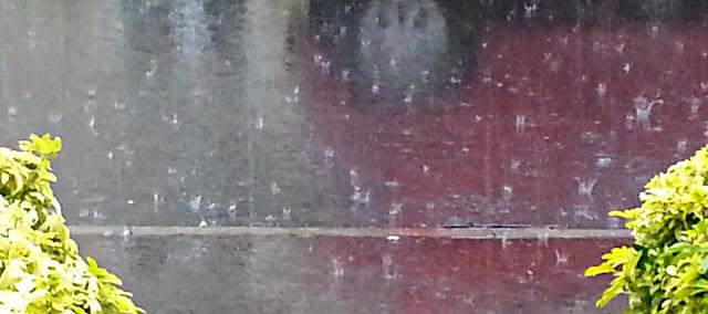 Rain drops falling onto a road surface.