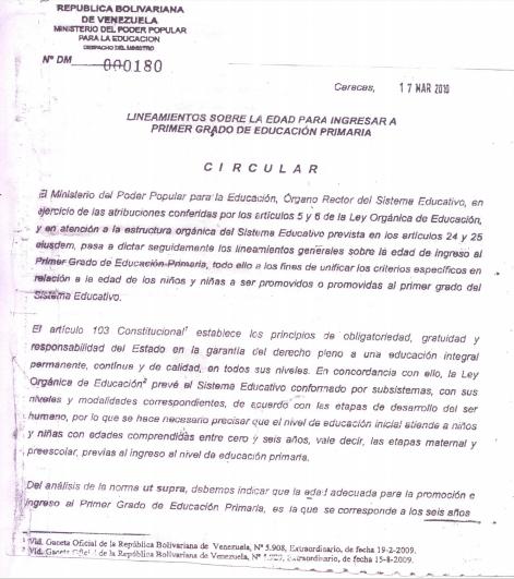 CIRCULAR 180 DE FECHA 17 DE MARZO DE 2010: LINEAMIENTOS SOBRE LA EDAD PARA INGRESAR A PRIMER GRADO DE EDUCACIÓN PRIMARIA.