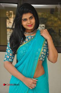 Telugu Actress Alekhya Stills in Green Saree at Swachh Hyderabad Cricket Press Meet  0010.JPG