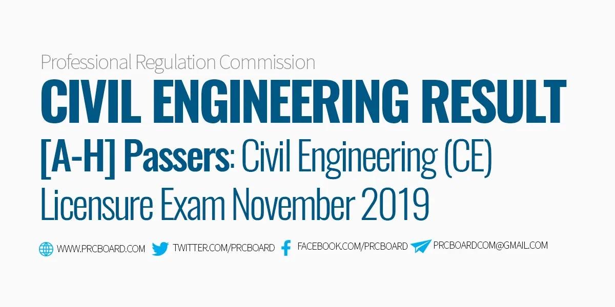Civil Engineering Ce Board Exam Result November 2019 A H