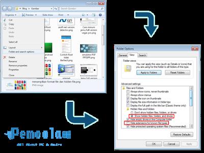 cara menampilkan format file dan hidden file