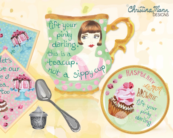 Christina Mann Designs:  Lift Your Pinky tea cup design for licensing