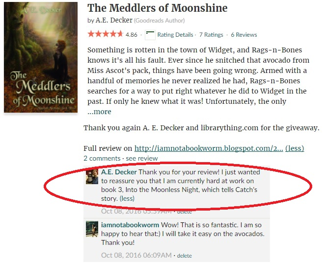 hug back from a.e. decker on meddlers of moonshine review