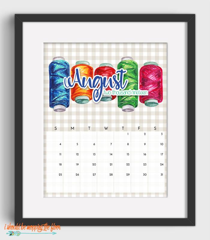 August Sewing Calendar