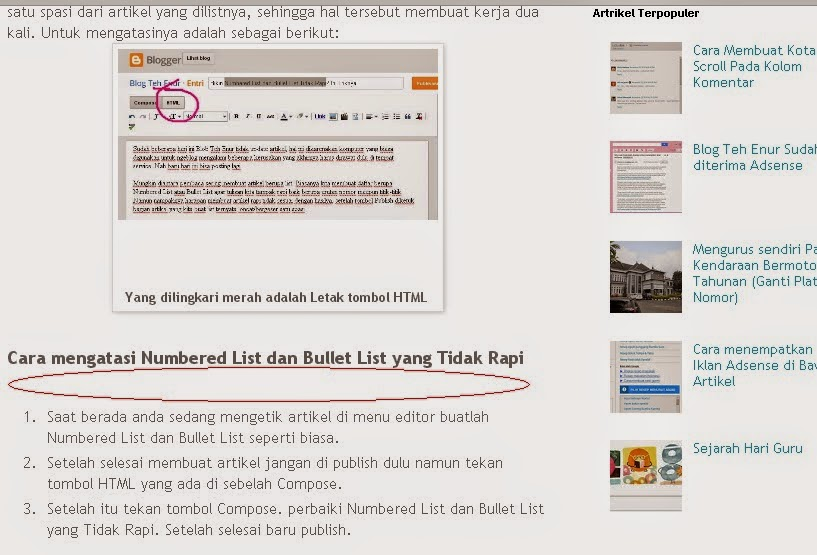 contoh Numbered List dan Bullet List