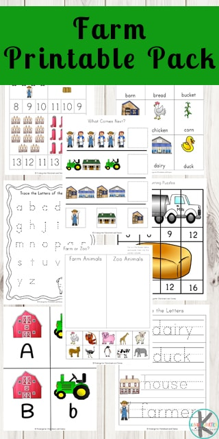 FREE Farm Worksheets - Kids will have fun learning math and literacy skills like upper case and lower case letters, cut and paste, counting, terms, letter tracing, three part cards, and more with these farm printables for prek, kindergarten, and first grade. #farm #kindergarten #preschool