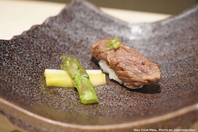Washu Beef Sushi with Marinated Asparagus at Shuraku in New York City