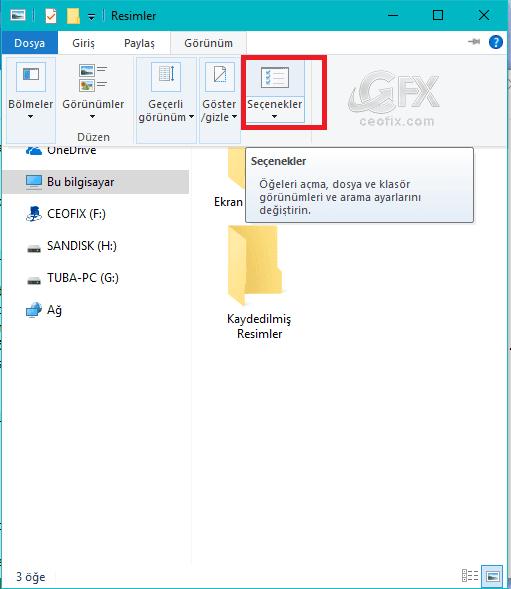 windows gezgini seçenekler