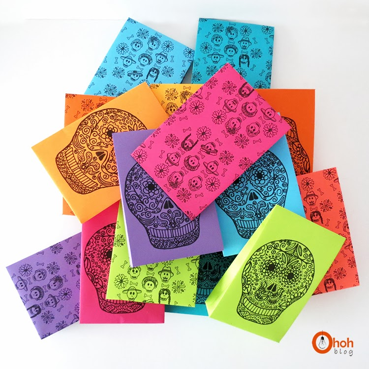 Sugar skulls goody bags for Halloween - Free print