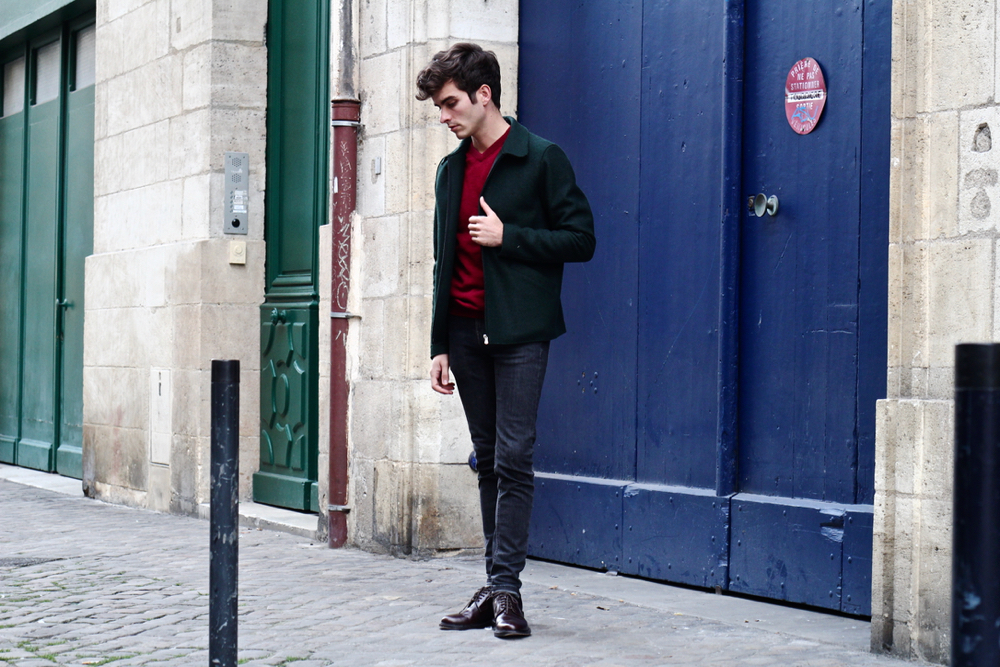 blog-mode-homme-style-masculin-preppy-classique-pull-col-v-rouge-veste-harris-wharf-london-balibaris-skinny-jeans-mec -paris-bordeaux