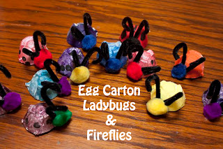 Egg Carton Ladybugs and Fireflies