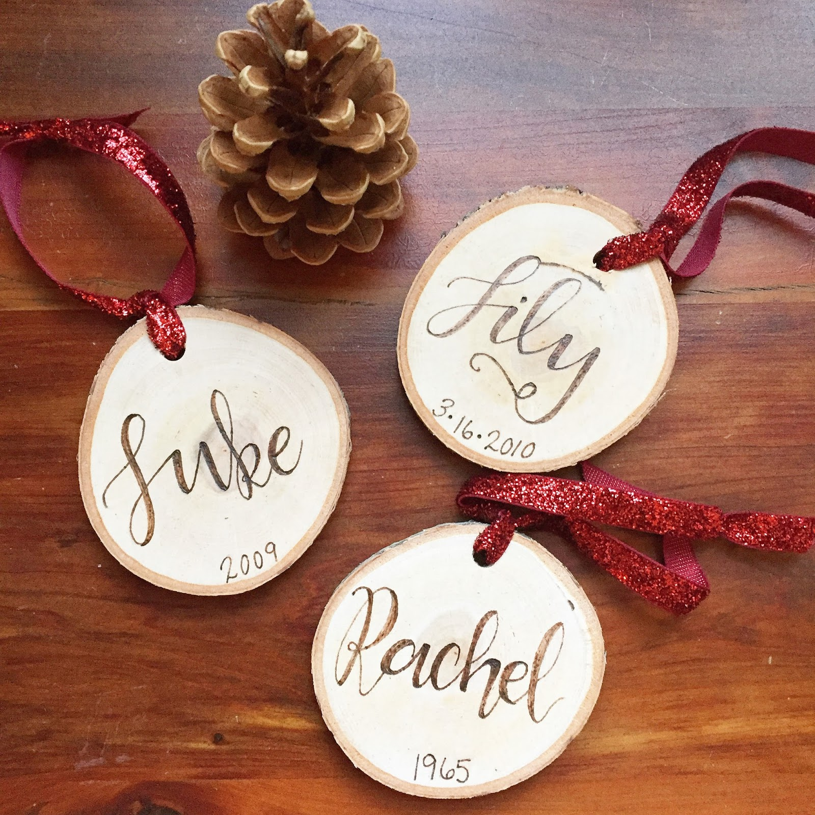 These Memorial Wood Burned Christmas Ornaments From Luminous Light Studio Since Last Year One For Each Of My Ls And One For My Aunt Rachel