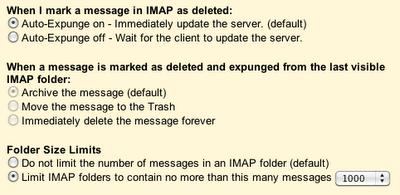 Google Mail Labs: Erweiterte IMAP Einstellungen