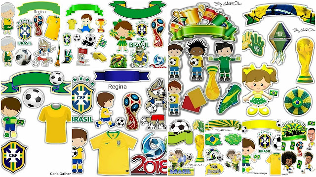 Brazil Soccer World Cup Free Printable Cake Toppers.