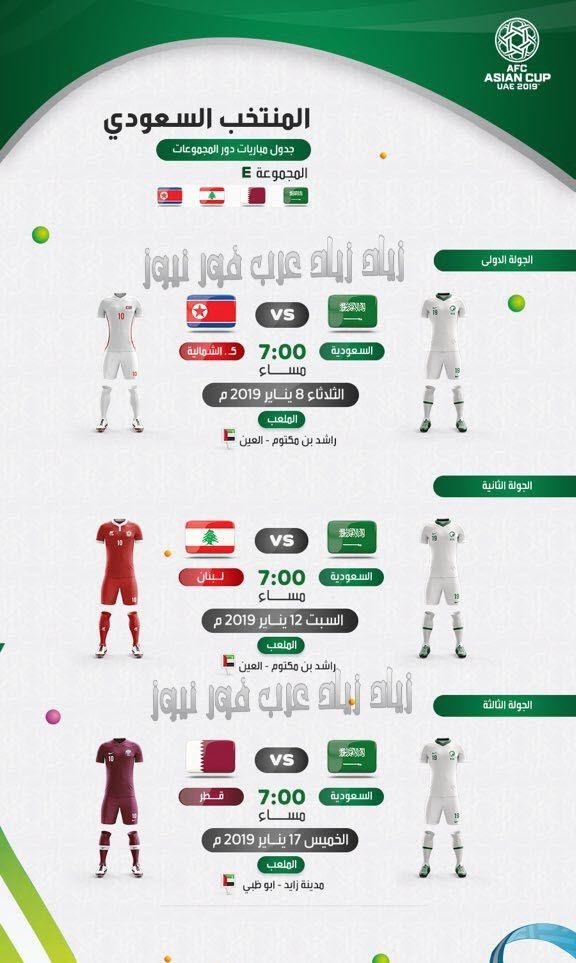موعد مباراة السعودية وقطر القادمة كأس أسيا 2019 والقنوات الناقلة | ترتيب مجموعة السعودية كاس اسيا 2019