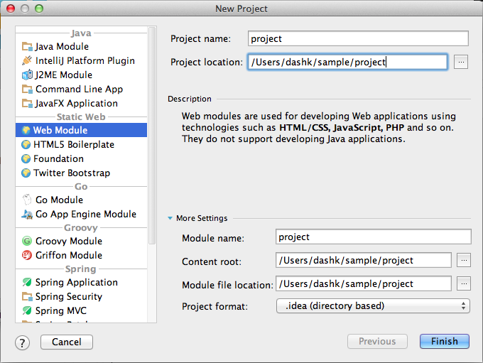 IntelliJ - Create a PHP/Web project with existing PHP/JavaScript
