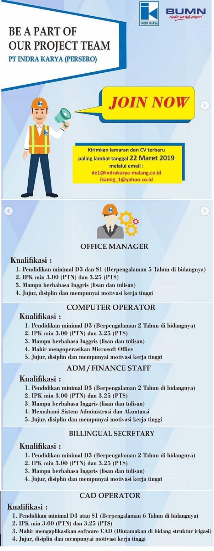 Lowongan Kerja BUMN PT Indra Karya (Persero) Tingkat D3 S1