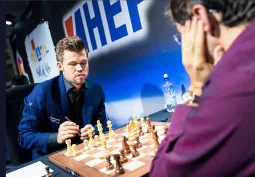 Magnus Carlsen s'affiche clairement à Zagreb comme le patron - Photo © Lennart Ootes pour le Grand Chess Tour