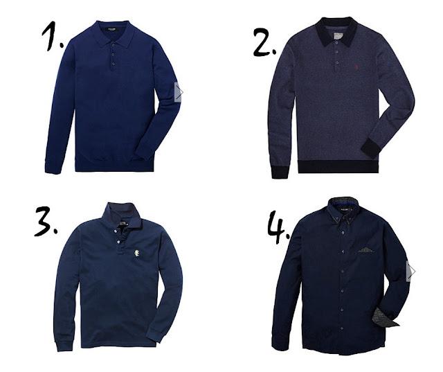 dark blue polo shirts on a white background