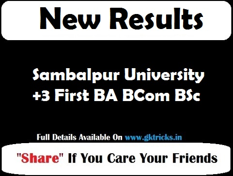 Sambalpur University +3 First BA BCom BSc Result
