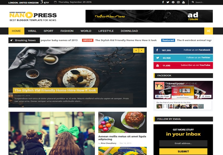 Nanopress News Blogger Template with sample post