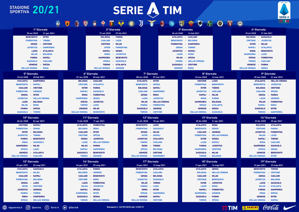 Calendario Serie A 2020 2021: Napoli debutta a Parma