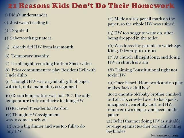 Reasons to do my homework