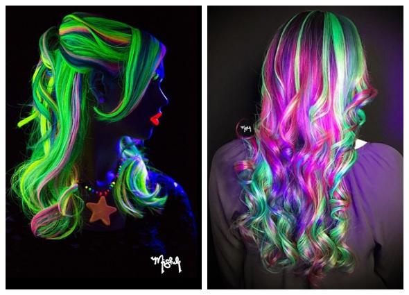 pelo brilla oscuridad,glow hair, tintes luz pelo, manualidades estéticas
