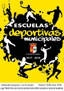 Resultado de imagen de cartel de las escuelas deportivas de la puebla de cazalla