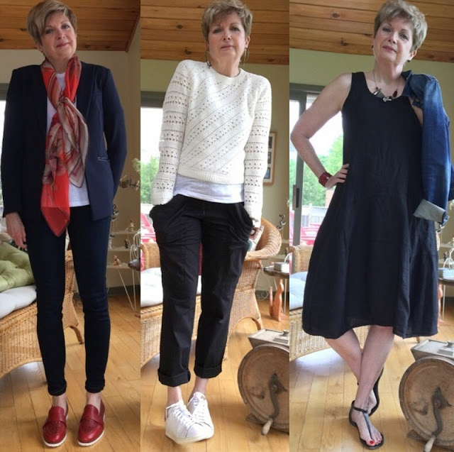 woman in blue pants suit and red loafers. White sweater, sneakers and black pants. Black dress, sandals and jean jacket.