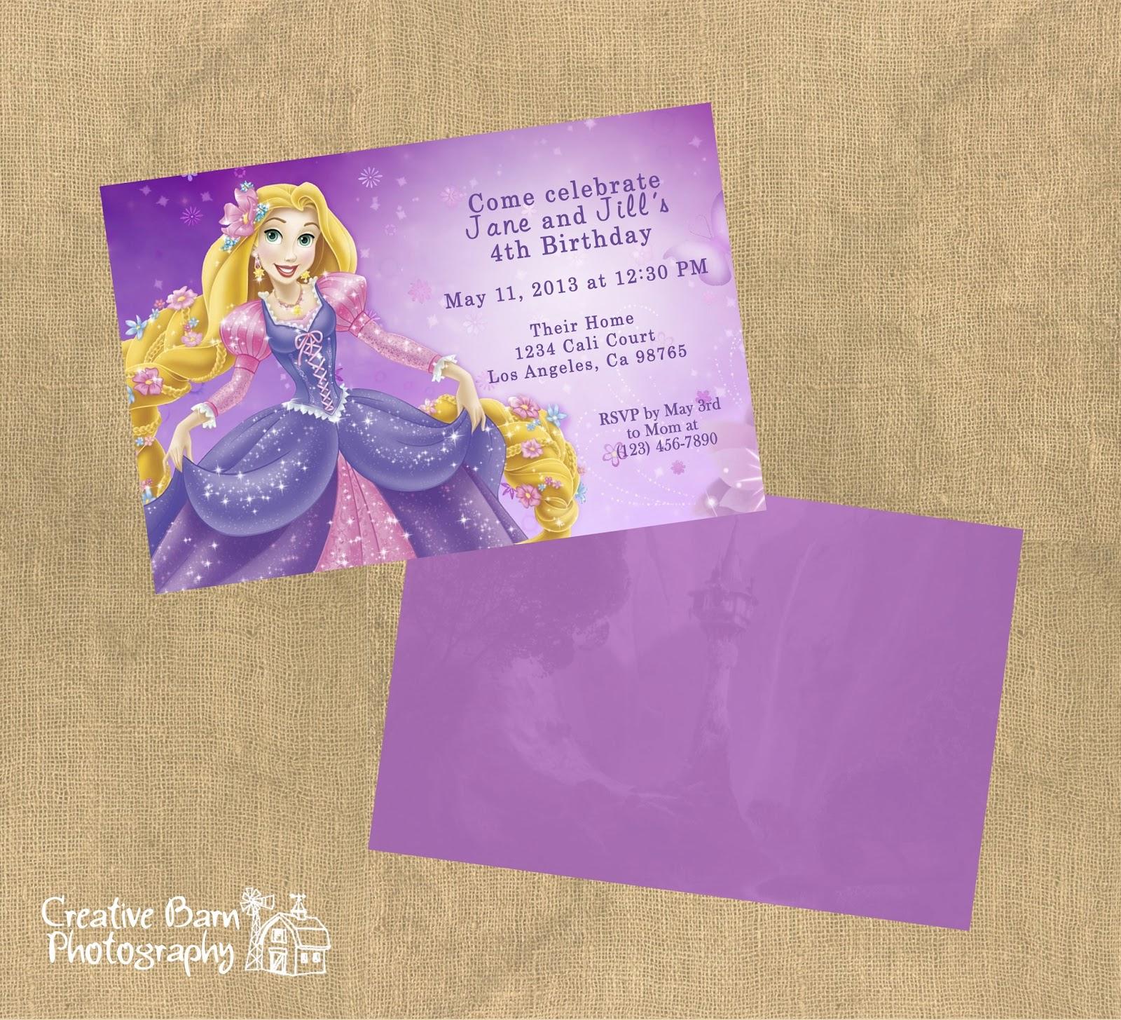 Creative Barn: Tangled Birthday Invitation