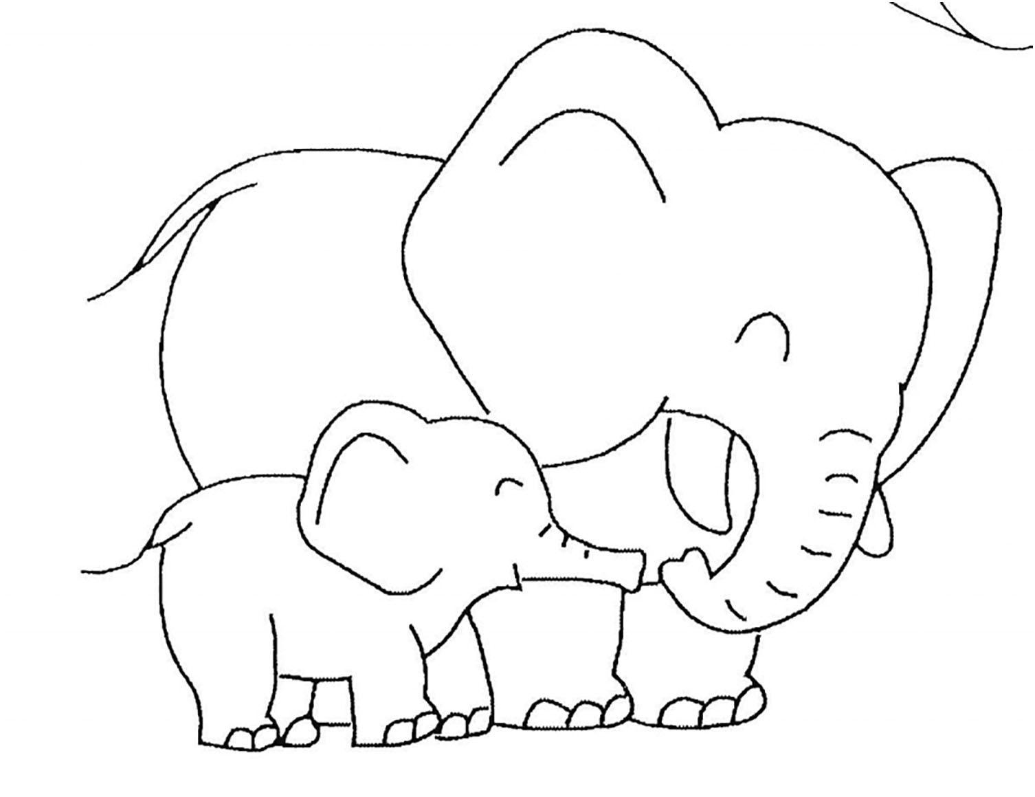 Tranh tô màu voi mẹ vui vẻ bên voi con