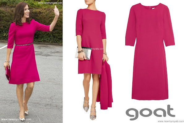 Crown Princess Mary chose a Goat Nesta Wool-Crepe Dress in Fuchsia