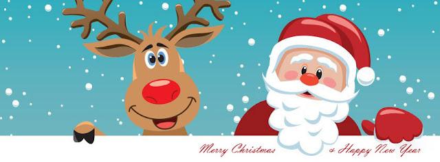 Merry Xmas Santa Cartoon Facebook Cover Banner