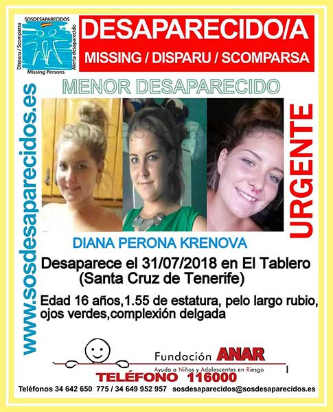 Fotos de la menor de 16 años, desaparecida en el barrio de El Tablero, Santa Cruz de Tenerife, Diana Perona Krenova