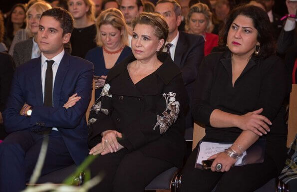 Grand Duchess Maria Teresa attended the award ceremony of 2019 Woman of Influence Award. Valentino embroidered coat