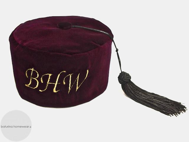 Men's burgundy red velvet smoking cap with monogram embroidery