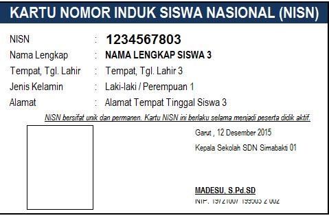 Aplikasi Cetak Kartu NISN Format Microsoft Excel