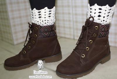 As mini polainas (Boot Cuffs de crochê) para usar com botas vieram com tudo  esse ano! a369640753759