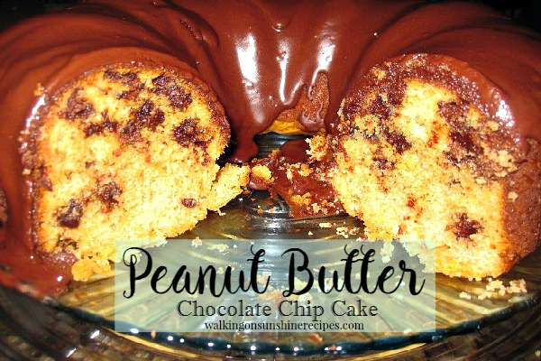 Peanut Butter Chocolate Chip Cake from Walking on Sunshine
