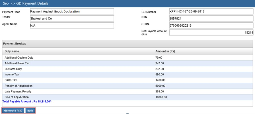 Payment against GD PSID Generation Page
