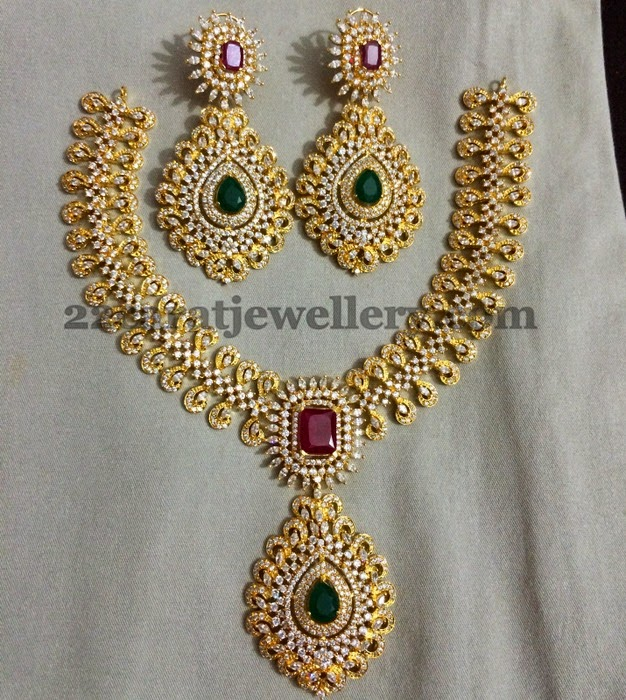 Meena Work Imitation Grand Necklace Jewellery Designs