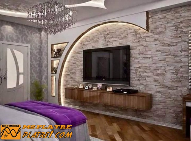 D coration salon placoplatre for Decoration maison salon tv