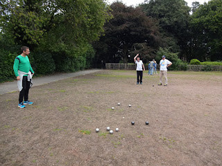 Playing with the Woodstock Petanque Club at Alexandra Park in Edgeley, Stockport last August