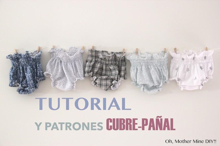 DIY Tutorial y patrones gratis BRAGUITAS CUBRE-PAÑAL para niño y para niña