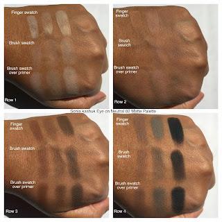Sonia Kashuk Matte Palette swatches on dark skin