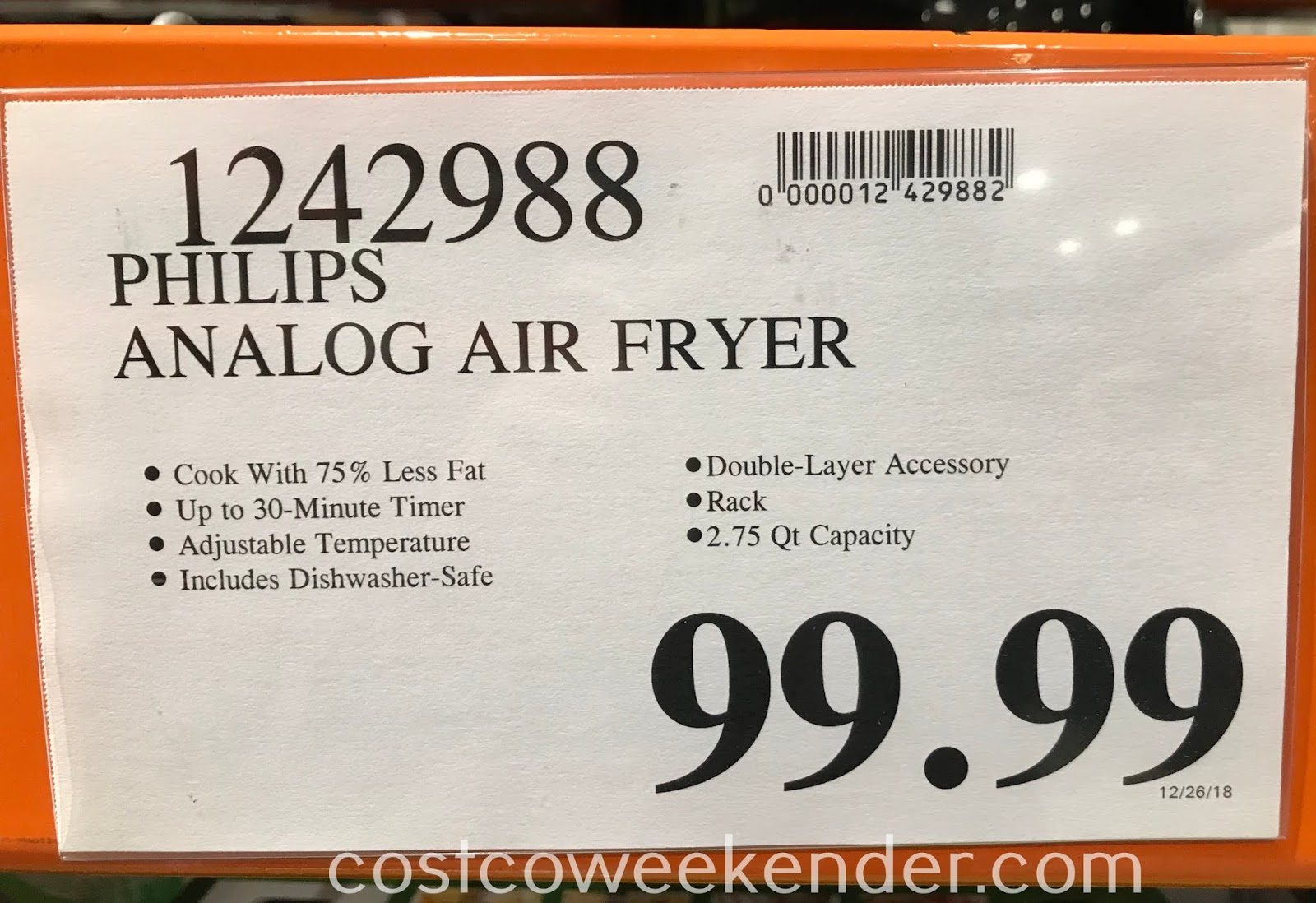 Deal for the Philips Air Fryer (HD9226) at Costco