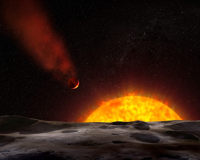 Artist's impression of exoplanet HD 209458b with comet-like tail