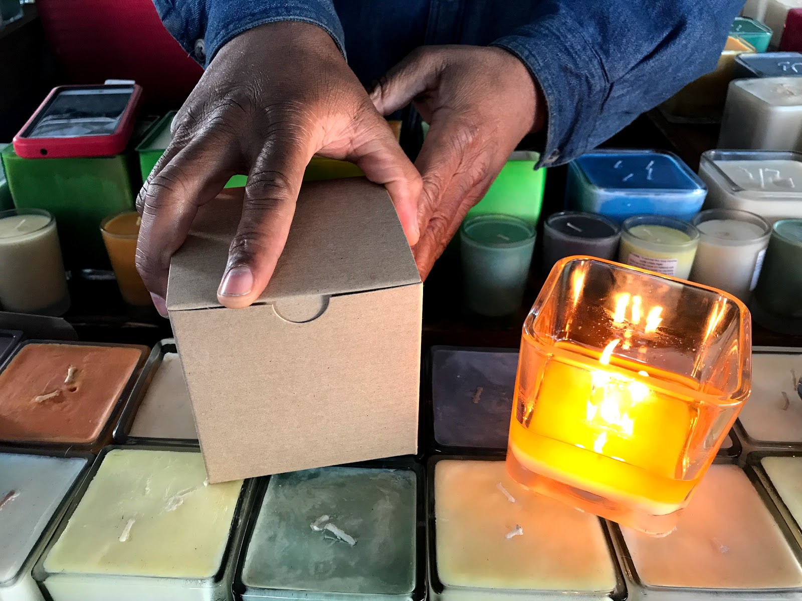 Image: Woman buying Soy Candles